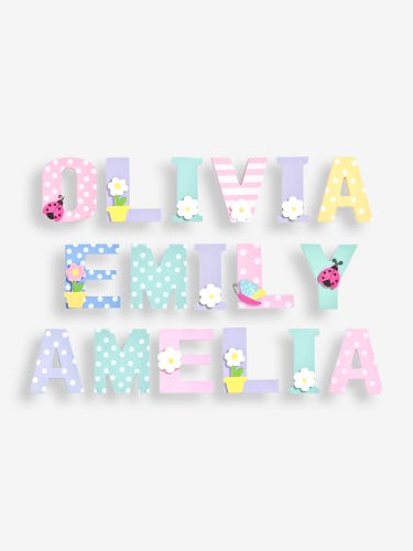 Multi-Coloured Painted Pastel 3D Wooden Letters