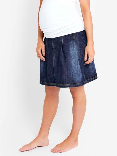 Mid Wash Pleated Maternity Skirt