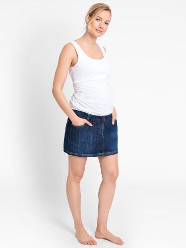 Denim Maternity Mini Skirt