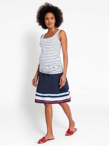 Navy Striped Hem Maternity Skirt
