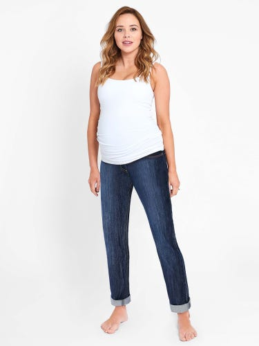 Mid Wash Straight Leg Maternity Jeans
