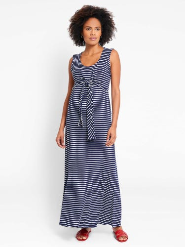 Navy Breton Maternity & Nursing Maxi Dress