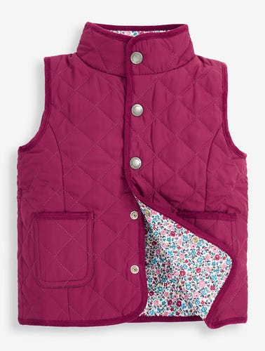 Girls' Berry & Floral Reversible Quilted Gilet