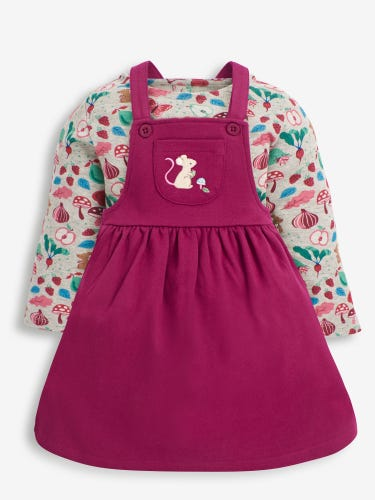 2-Piece Berry Vegetable & Mouse Print Pinafore Set