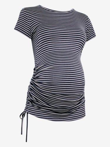 Stripe Side Gathered Maternity T-Shirt