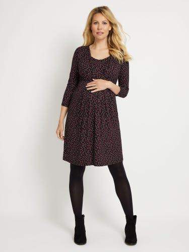 Black Floral Pleated Maternity & Nursing Tunic Dress