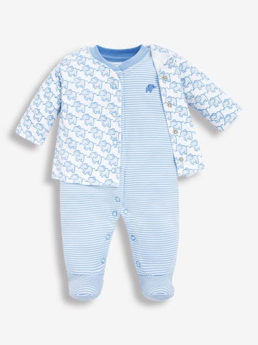 2-Piece Elephant Baby Jacket & Sleepsuit Set