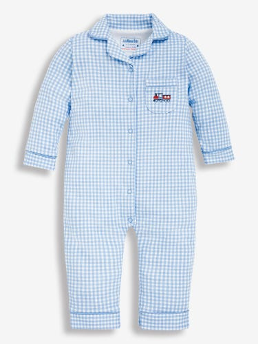 Gingham Jersey All-In-One Pyjamas