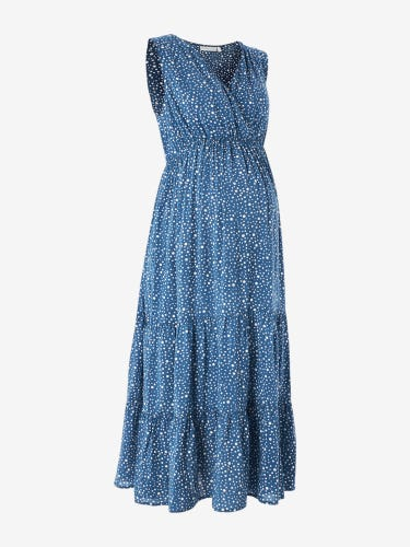 Blue Printed Tiered Maternity Wrap Dress