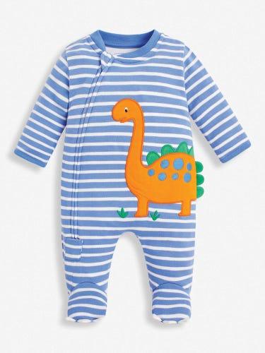 Blue Dinosaur Zip Baby Sleepsuit