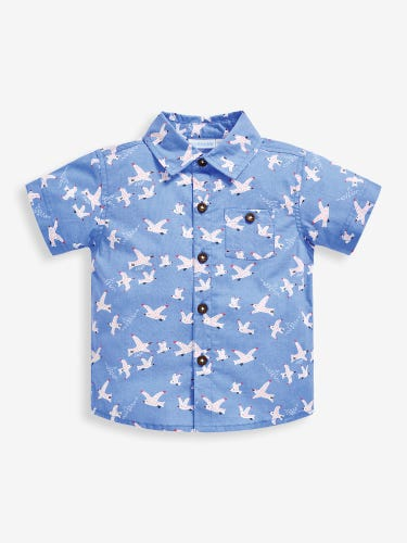 Boys' Blue Seagull Print Shirt