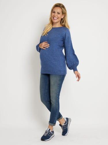 Blue Blouson Sleeve Maternity Jumper