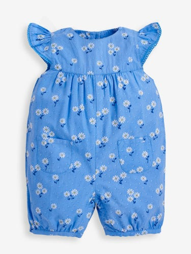 Blue Pretty Daisy Baby Sunsuit