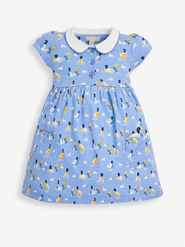 Girls' Blue Duck Peter Pan Collar Dress