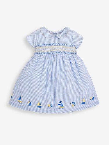 Girls' Blue Sailboat Smocked Dress