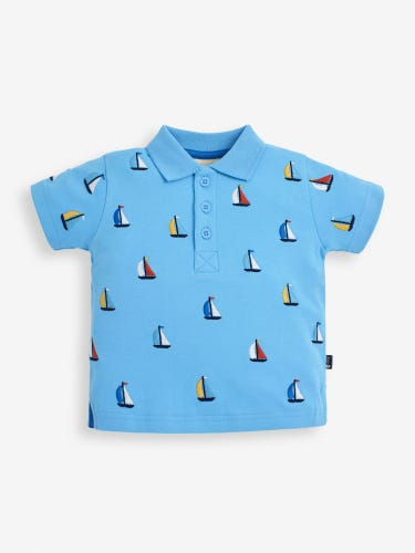 Kids' Blue Boat Embroidered Polo Shirt