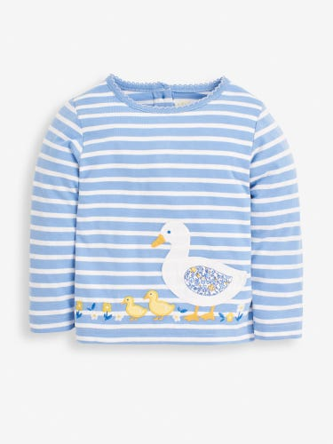 Girls' Blue Duck Appliqué Top
