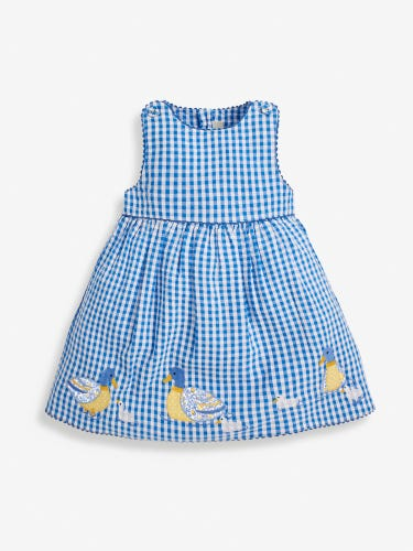 Girls' Blue Duck Appliqué Gingham Dress