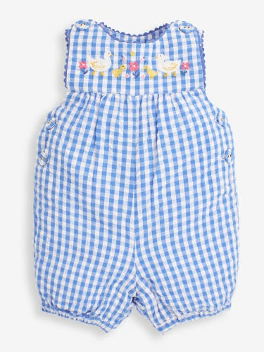 Girls' Blue Duck Appliqué Dungarees