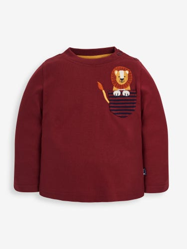 Kids' Burgundy Lion Appliqué Pocket Top