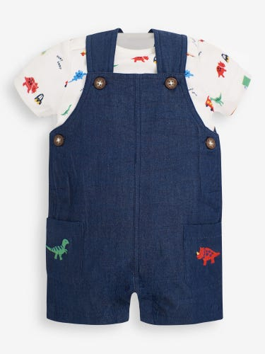 2-Piece Dino Chambray Baby Dungarees Set