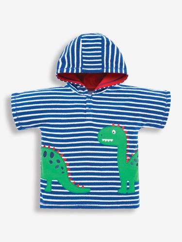 Blue Dinosaur Hooded Towelling Poncho