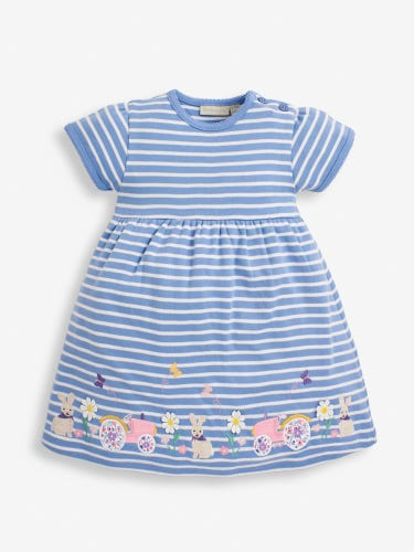 Girls' Cornflower Tractor Appliqué Dress