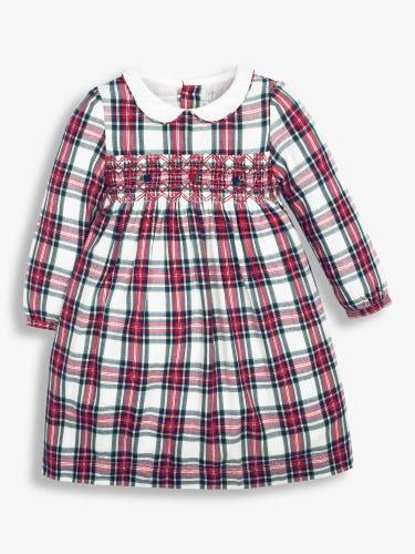 Girls' Cream Smocked Tartan Party Dress