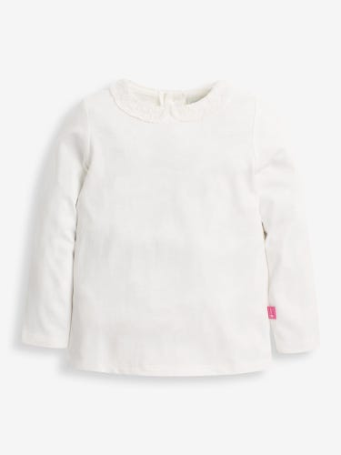 Girls' Cream Lace Collar Top