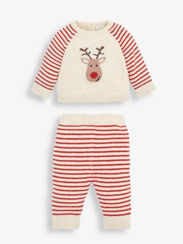 2-Piece Reindeer Knitted Baby Set