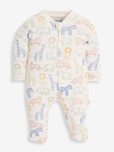 Safari Print Zip Baby Sleepsuit