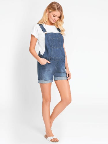 Light Wash Short Maternity Dungarees