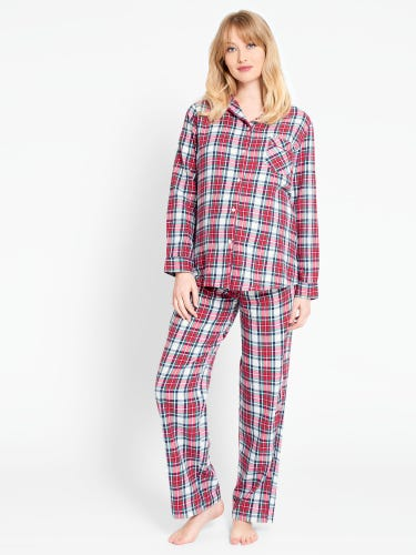 Red Tartan Maternity & Nursing Pyjama Set
