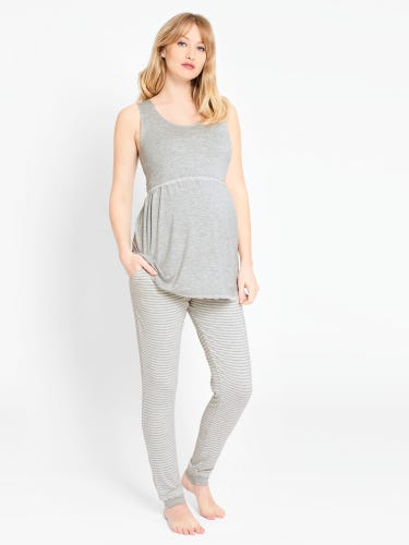 Marl Grey Maternity & Nursing Pyjama Set