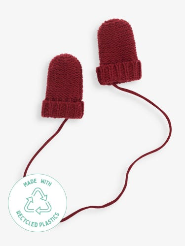Knitted Mittens with String