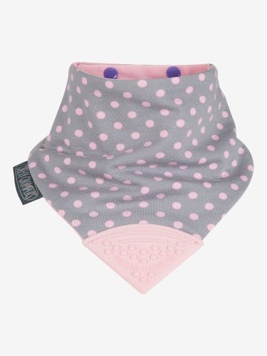 Cheeky Chompers Neckerchew Bib Polka Dot Pink