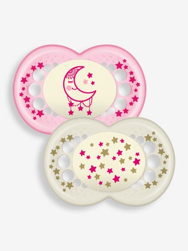 MAM Night Soother 12+ Months 2-Pack Pink