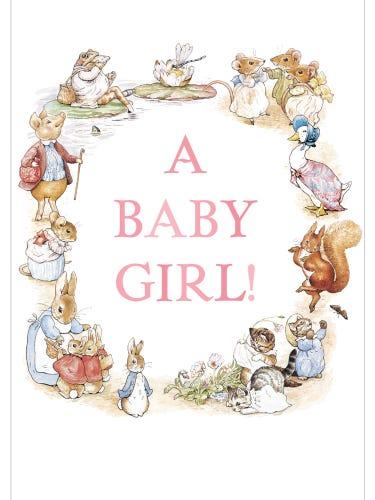 Beatrix Potter New Baby Girl Card
