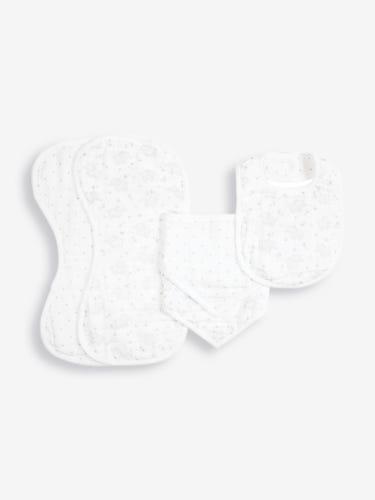 Elephant 5-Piece Muslin Cloth & Bib Set