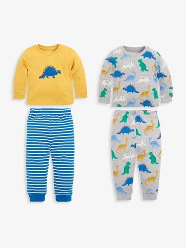 2-Pack Kids' Dinosaur Jersey Pyjamas