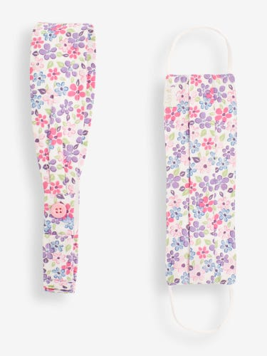 Kids' Ditsy Print Face Covering and Headband Set