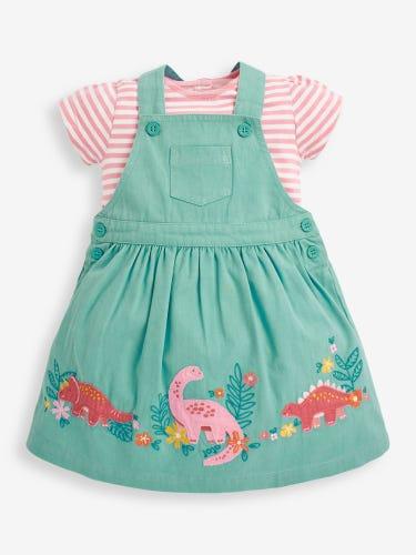 Girls' Duck Egg Dinosaur Pinafore Dress Set