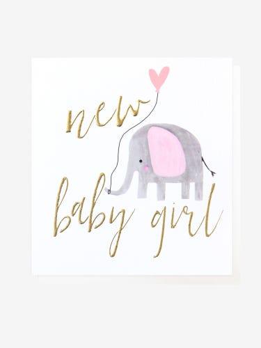 Caroline Gardner Elephant New Baby Girl Card
