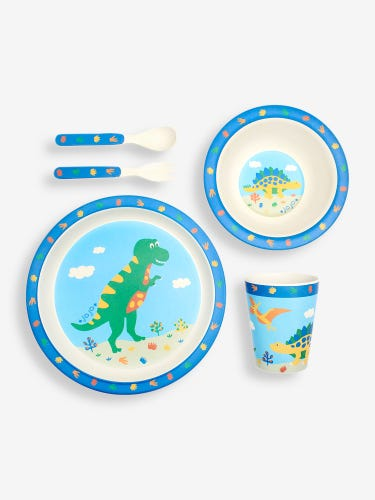 Blue Dino Bamboo Dinner Set