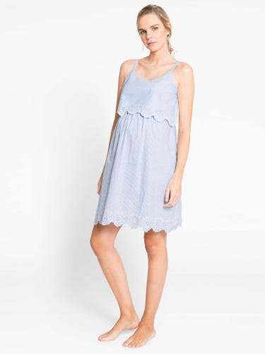 Blue Ticking Stripe Maternity & Nursing Nightdress