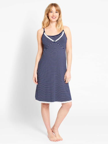 Navy Stripe Maternity & Nursing Nightdress