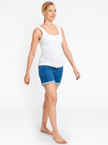 Light Wash Denim Maternity Shorts