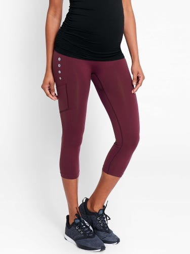 Burgundy Active Support Cropped Maternity Leggings