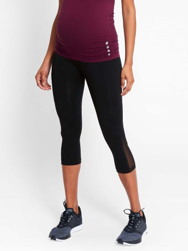 Black Active Support Cropped Maternity Leggings