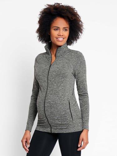 Grey Marl Active Zip-Up Maternity Jacket